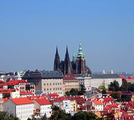 Prague castle and st vitus cathedral viewed from the petrin hill photo