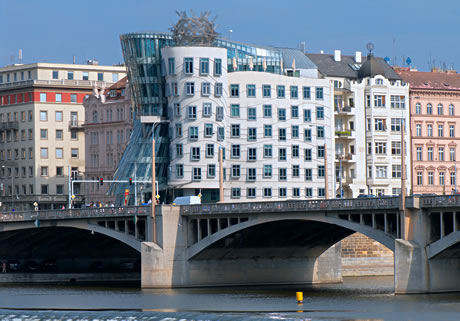 The dancing house in downtown prague photo