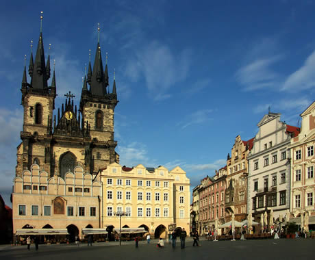 Tyn church and the old town square in prague photo